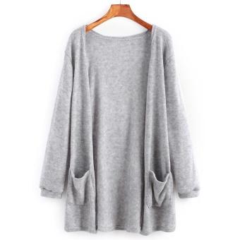 Woman Sweater Pocket Knit Cardigan Jacket-Black - intl - 3