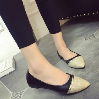 Women Ballet Flats Summer Rubber Flats Slippers Lady's Point Toe OLCasual Shoes Wedding Party Shoes ( Black ) - intl