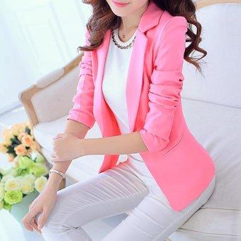Women Blazers Jackets Suit Spring Autumn Single Button FemaleLadies Blazer(White) - intl - 5