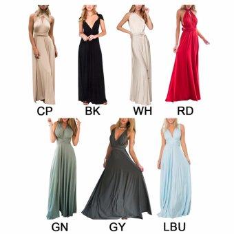 Women Boho Maxi Dress Red Bandage Long Dress Multiway BridesmaidsConvertible Dress Robe Longue Femme(Green) - intl - 3