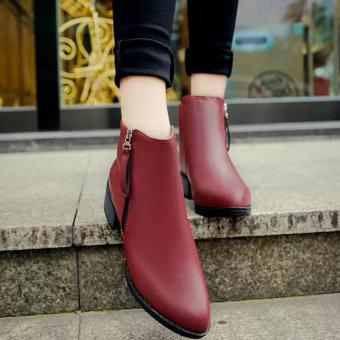 Women Boots Martin Boots Pointed Thick With Low Side Zipper EnglandBoots (Red) - 3