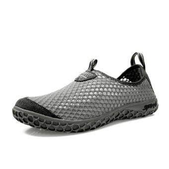 Women Breathable Mesh Sport Lace-Ups Low Cut Sneakers-Grey