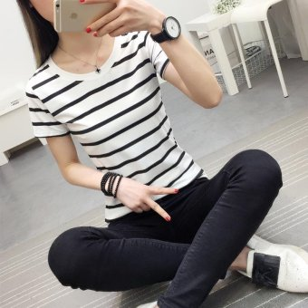 Women casual short sleeve striped t-shirt - intl - 5