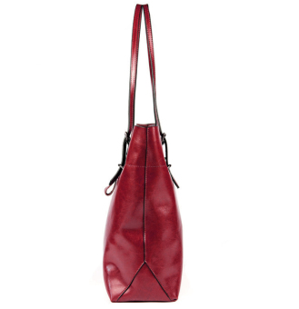 Women Cattlehide Genuine Leather Large Capacity Shoulder Bag Tote Bags (Wine Red) - 4