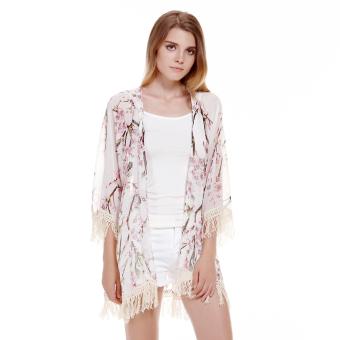 Women Chiffon Kimono Cardigan Lace Blouse Floral - Intl - 2