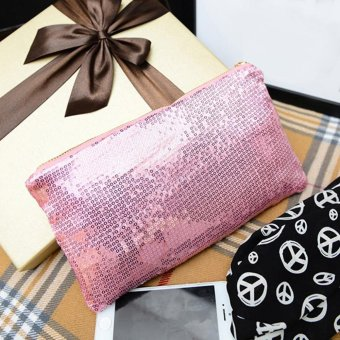 Women Clutch Dazzling Sequins Handbag Pink - picture 2