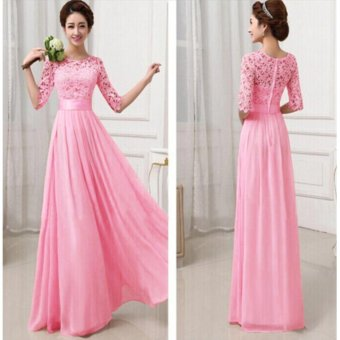 Women Crochet Lace 1/2 Sleeve Tunic Bridesmaid Formal Gown Party Maxi Chiffon Long Dress (Blush Pink) - intl - 2