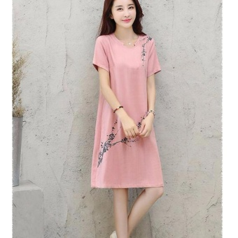 Women Elegant Plus Size A-Line Dress Linen Floral Working Casual Short Sleeve Solid Color Skirts (pink) - intl - 2