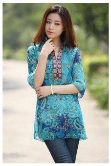 Women Embroidery Printing Vestidos Chiffon Dress Floral Casual Blouse Blue - 2