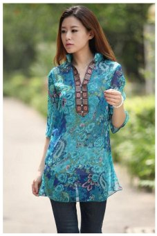 Women Embroidery Printing Vestidos Chiffon Dress Floral Casual Blouse Blue