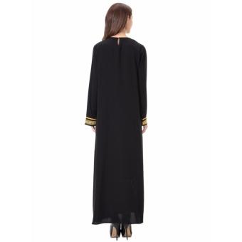 Women Ethnic Pure Color Muslim Islamic Long Sleeve Maxi Dress Arab Jilbab Abaya Cloth(Gold) - intl - 5
