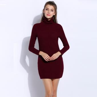 Women Fashion Long Sleeve Knit Pullover Turtleneck Sweater Dress(Wine Red) - 2