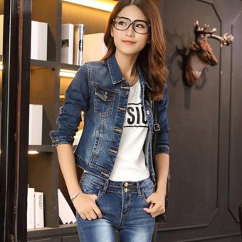 Women Fashion Slim Jeans Coat Long Sleeve Short Denim Jacket - intl