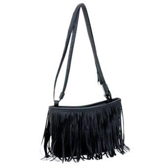 Women Fashion Tassel Single Shoulder Handbag Black