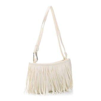 Women Fashion Tassel Single Shoulder Handbag White