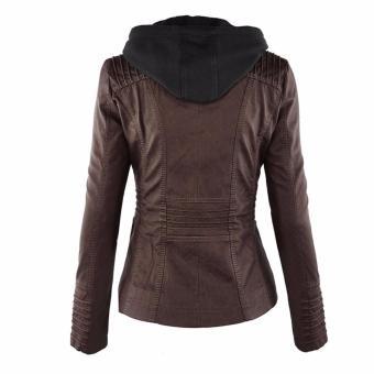 Women Fashion Winter Slim Zipper Leather Jacket - intl - 5