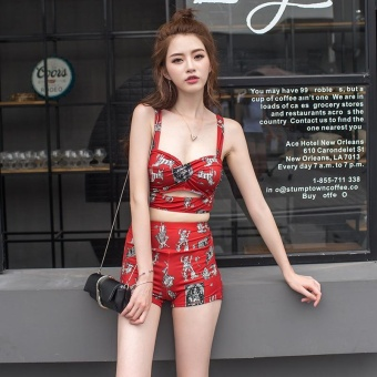 Women Floral Print V Neck 3 Pieces Casual Swimsuit 7199 (Red) - intl - 5