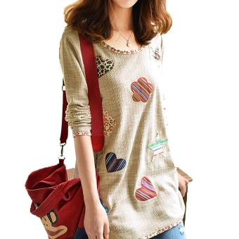Women Fresh Hearts Flowers Print Blouse Round Neck Top Shirts(Int:M) - Intl - 5