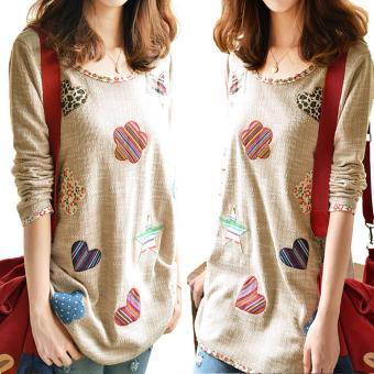 Women Fresh Hearts Flowers Print Blouse Round Neck Top Shirts(Int:M) - Intl - 3