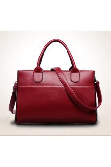 Women Genuine Leather Handbag Shoulder Bag Large Tote Satchel Red -