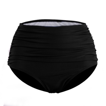 Women High waisted pleated triangle swimming trunks (Black)
