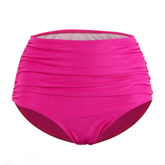 Women High waisted pleated triangle swimming trunks (Rose color)