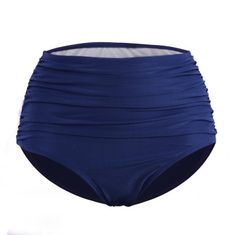 Women High waisted pleated triangle swimming trunks (Zhang blue)