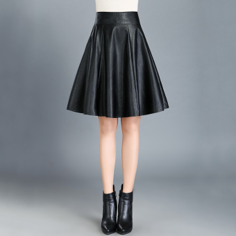 Women high-waisted slimming word skirt leather skirt