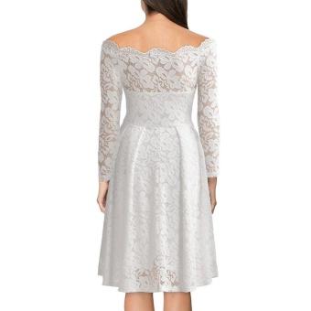 Women Lace Floral Off Shoulder Solid Color Long Sleeve Dress(white)- intl - 2