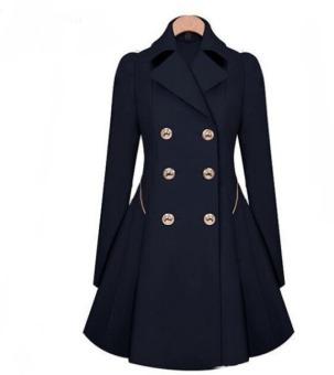 Women Lapel Windbreaker Blue Parka Coat Trench Outwear Jacket - 2