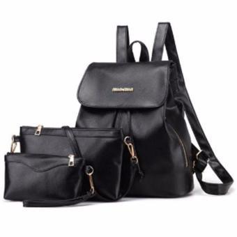 Women Leather Backpack Rucksack Travel School Bag Shoulder Bags Satchel (Black)