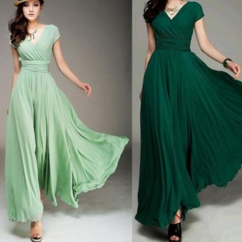 Women Long Formal Evening Prom Party Bridesmaid Chiffon Ball Gown Cocktail Dress - intl Color Dark Green