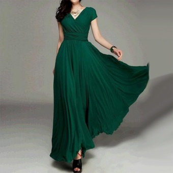 Women Long Formal Evening Prom Party Bridesmaid Chiffon Ball Gown Cocktail Dress - intl Color Dark Green - 2