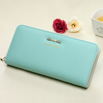 Women Long zip student female fashion wallet women's wallet (Lake blue) (Lake blue)
