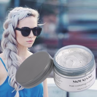 Women Men Disposable Hairstyle Modeling Hair Coloring Wax(Gray) - intl