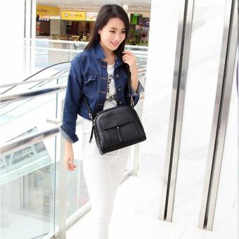 Women Messenger Bag Vintage Bag Tote Shell Bolsas Lady Pouch(black) - 2