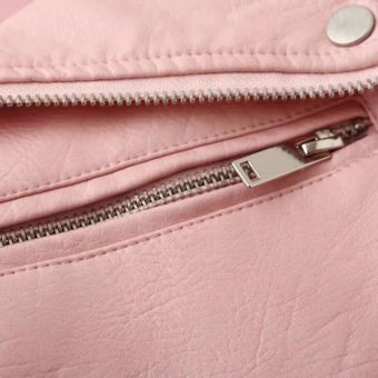 Women Motorcycle PU Leather Jacket Zipper Coat (Pink) - 4