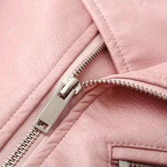 Women Motorcycle PU Leather Jacket Zipper Coat (Pink) - 3