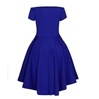Women Off Shoulder Sleeve High Low Skater Dress Swing Party Cocktail Formal Dress Blue - intl - 3