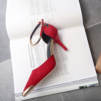 Women Pointed Toe Suede Buckle Strap Pumps Shoes (Red) - 5
