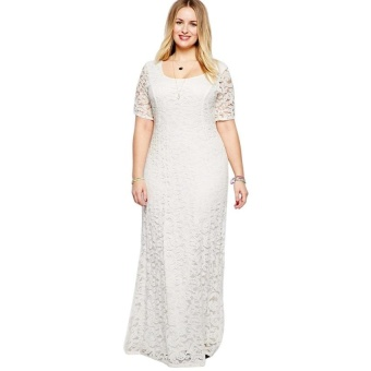 Women Polyester Scoop Collar Lace Plus Size Dress (White) - intl
