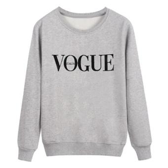 Women 's Sweater Letters Printed Round Neck Long - Sleeved SweaterWomen Tops-Black - intl - 3