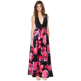 Women sleeveless bohemian style print summer maxi dress - intl
