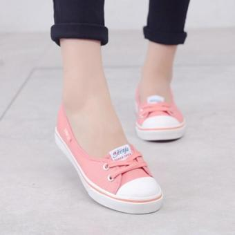 Women Slip-On Canvas Shoes Ladies Low-Cut Casual Flat Shoes (Pink)- Intl - 3
