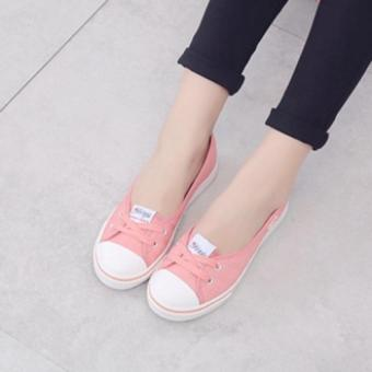 Women Slip-On Canvas Shoes Ladies Low-Cut Casual Flat Shoes (Pink)- Intl - 5