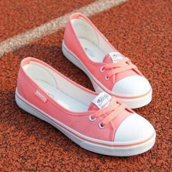 Women Slip-On Canvas Shoes Ladies Low-Cut Casual Flat Shoes (Pink)- Intl - 2