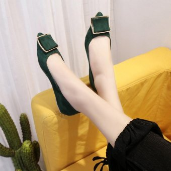 Women Solid Color Suede With Low Heeled Shoes(Green) - intl - 5