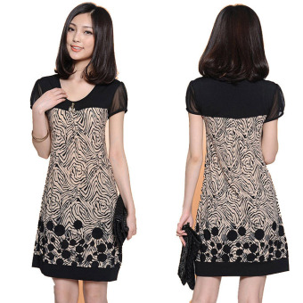 Women Splice Suit Pattern Short Sleeve Loose Dress