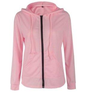 Women Sprint Autumn Jacket Long Sleeve Zipper Hoodies Pink - intl - 4