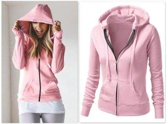 Women Sprint Autumn Jacket Long Sleeve Zipper Hoodies Pink - intl - 2